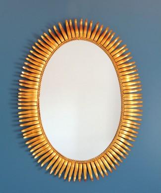 Espejo sol dorado al pan de oro, vintage años 60.