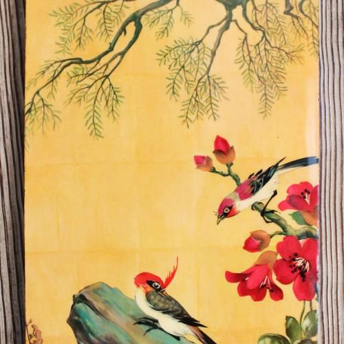 Ilustraciones lacadas de paisajes orientales. Decoración mural, vintage 50s-60s.