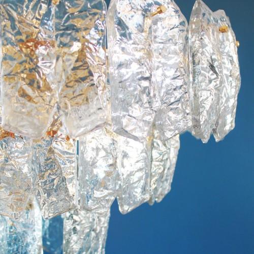 J.T. KALMAR FRANKEN espectacular lámpara de techo, Ice-glass. Excelente estado. Austria, Vintage años 60s.