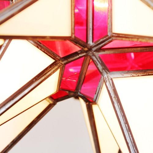 Lámpara farol granadino. Artesanía de vidriera. Vintage años 60s-70s.