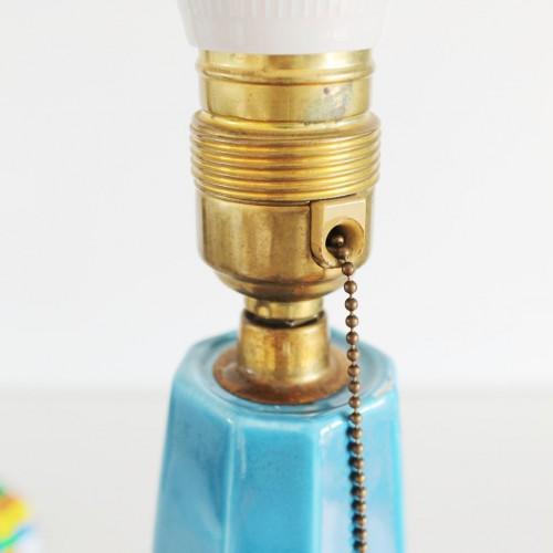 Lámpara de cerámica azul de Manises, vintage años 50s-60s.