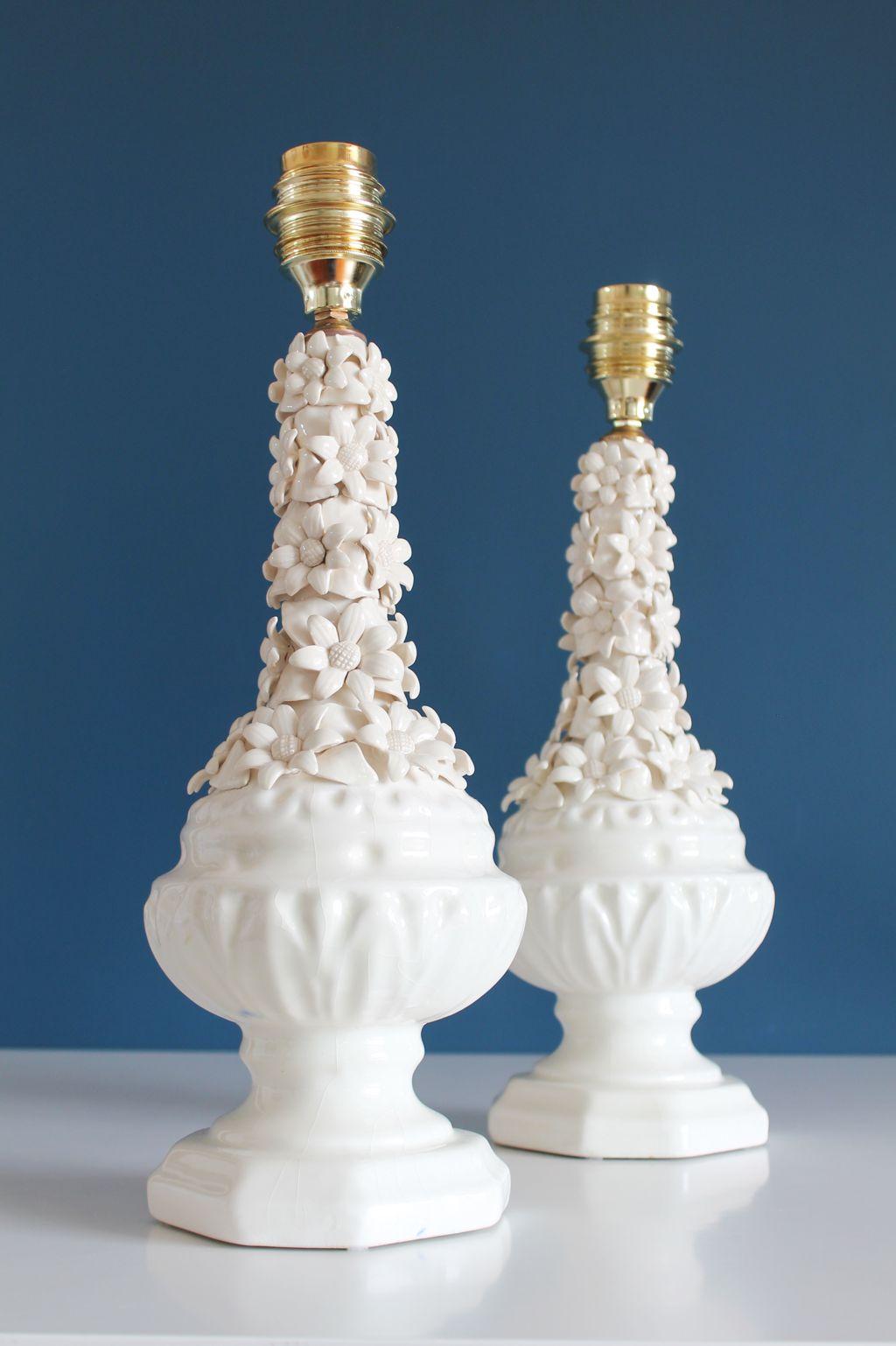Pareja de l mparas de cer mica blanca de manises vintage for Lamparas de ceramica