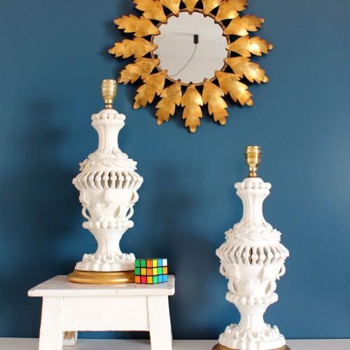 Pareja de lámparas de cerámica de Manises, años 50-60s.
