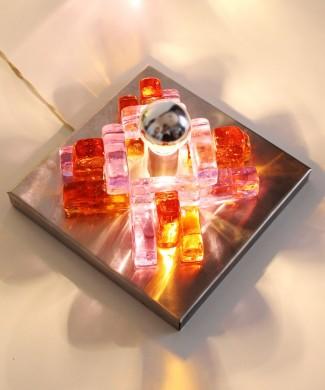 POLIARTE - Angelo Brotto - aplique lámpara de pared de cristal de Murano - cristal ámbar y rosa dicroico, cambia de color. Vintage 70s.