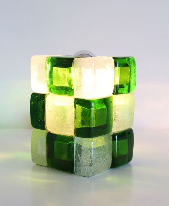 POLIARTE - Angelo Brotto - lámpara de mesa de cristal de Murano verde y blanco. Vintage 70s.