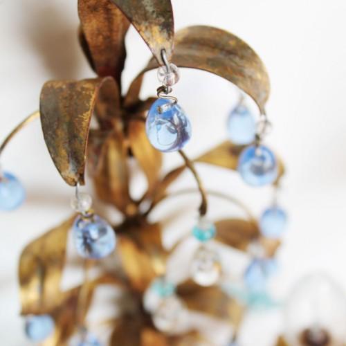 Preciosa pareja de apliques de forja dorada y cristal de Murano. Italia, vintage años 50s.