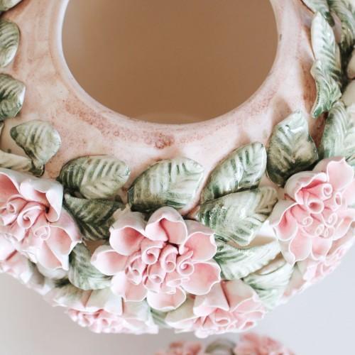 Bote galletero de cerámica de Manises, flores y hojas. Perfecto estado. Vintage 50s-60s.