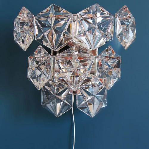 KINKELDEY LEUCHTEN: trío de apliques de pared de cristal, vintage años 70s.