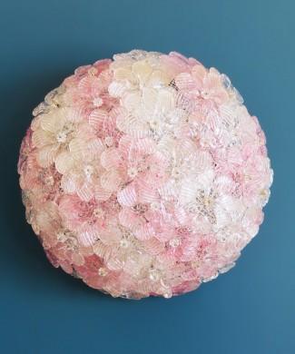BAROVIER & TOSO - Exquisita lámpara de cristal de Murano, con flores blancas y rosas, vintage años 70s.