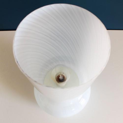 VISTOSI MURANO - Lámpara seta de cristal opal de Murano, vintage años 70s.