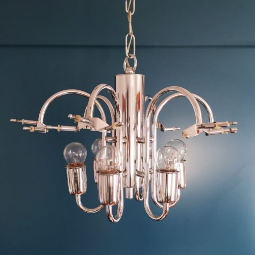 VENINI MURANO - Excelente lámpara chandelier de cristal y acero cromado, vintage años 70s.