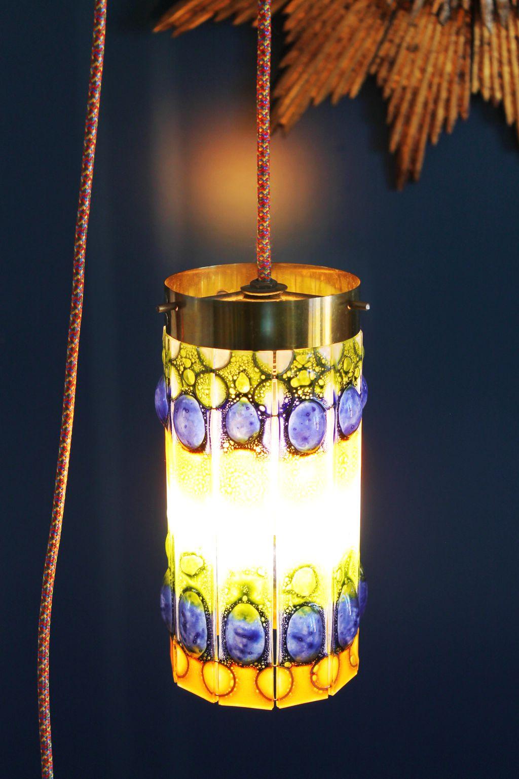 L mpara de suspensi n o farolillo con tulipa de cristales - Lamparas de cristal de colores ...