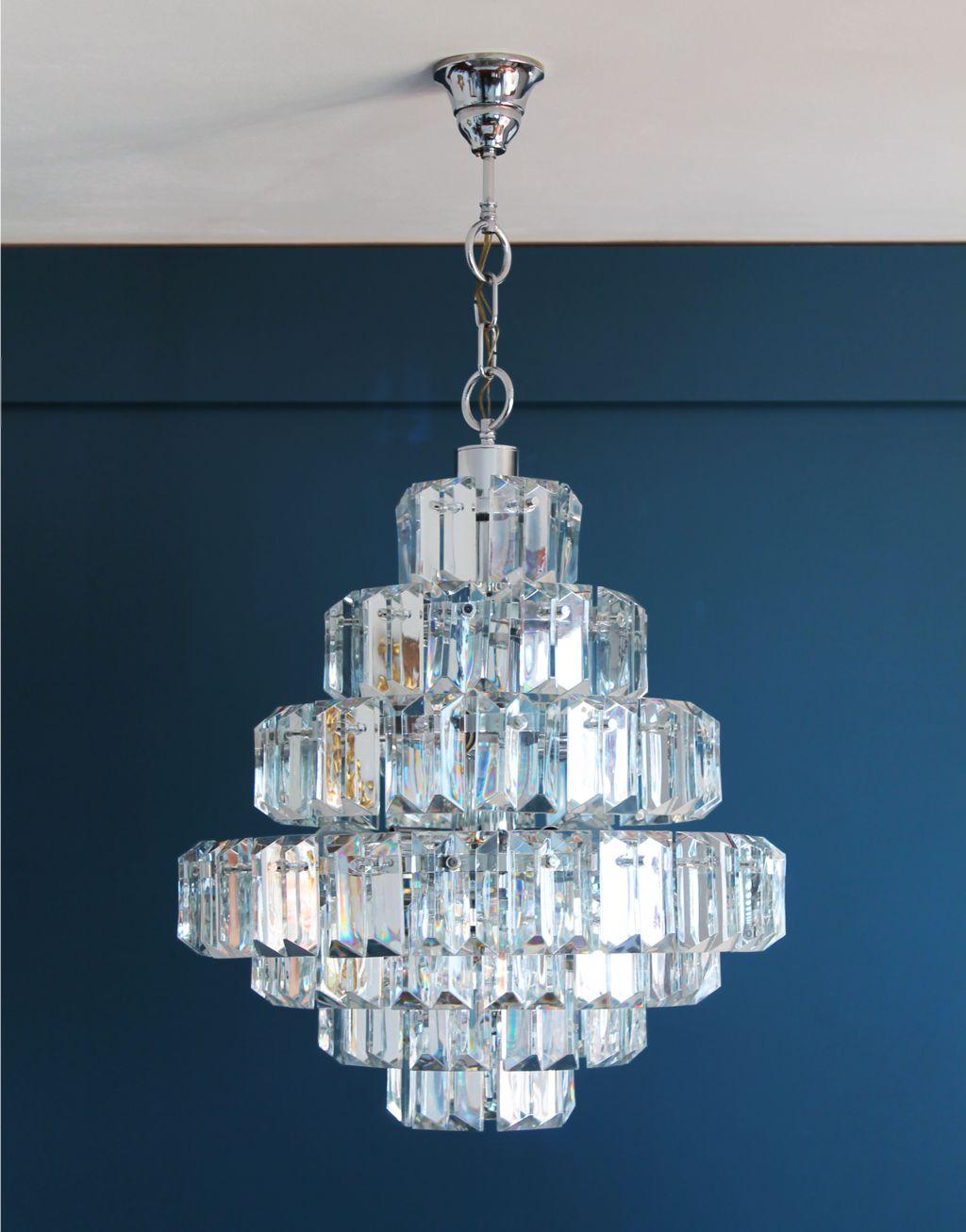 kinkeldey leuchten alemania gran lmpara de techo chandelier de cristal y acero vintage aos 70 - Lamparas De Techo De Cristal