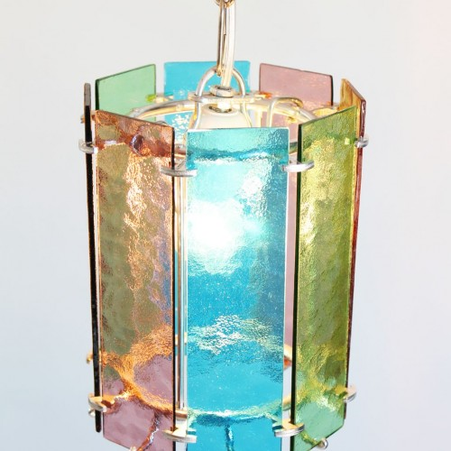 pareja de lmparas de techo con pantalla de vidrios de colores pop vintage aos s