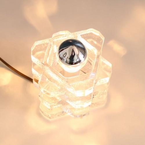PEILL&PUTZLER, lámpara de sobremesa de cristal de hielo. Alemania, vintage 70s.