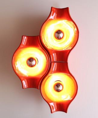 HUSTADT NEHEIM - juego de 3 apliques de cerámica naranja. Vintage pop, Alemania, años 70s.