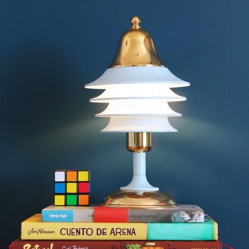 HISPANOLUZ - Lámpara de mesa, metal azul y baño de oro de 24 qts, vintage años 80s.