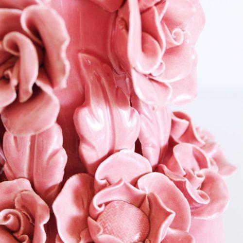 Lámpara de Manises en cerámica rosa, perfecto estado. Vintage 50s-60s.
