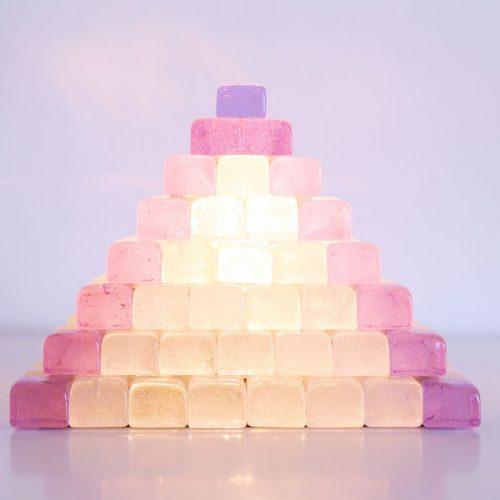 POLIARTE - Angelo Brotto - lámpara de mesa de cristal de Murano - cristal rosa dicroico, cambia de color. Vintage 70s.