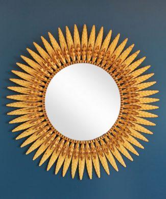 Gran espejo sol, forja dorada, vintage años 60s.