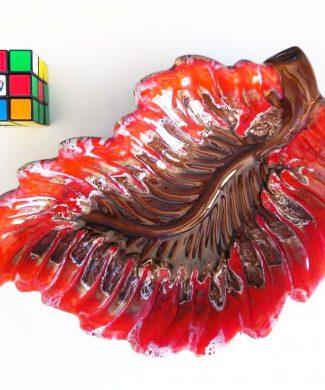 Hoja cerámica. Fuente o centro de mesa de Vallauris, vintage años 60.
