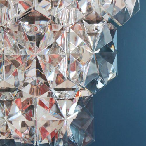 KINKELDEY LEUCHTEN: Gran aplique XXL de pared de cristal, vintage años 70s.