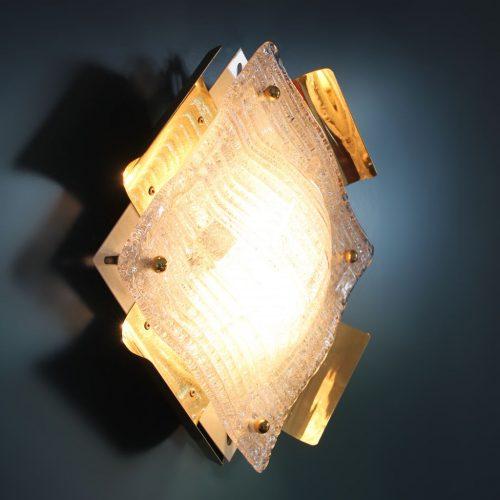 MURANO Aplique de pared o lámpara de techo de cristal de Murano y latón dorado, vintage años 60.