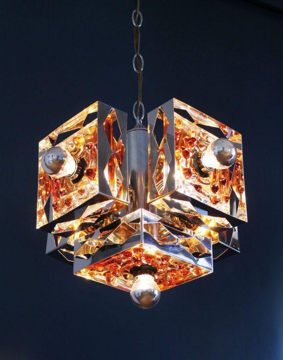 Mazzega - Murano. Espectacular lámpara de techo de acero cromado y cristal de Murano, vintage 60s-70s.