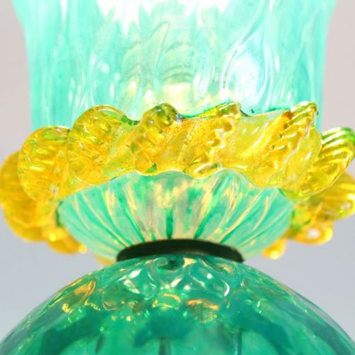 Lámpara de sobremesa de cristal mallorquín, antigua, primera mitad siglo XX.