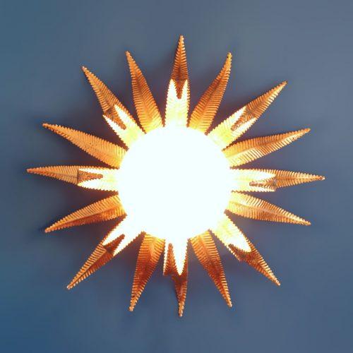 Aplique o lámpara sol de pared o techo, vintage años 60.