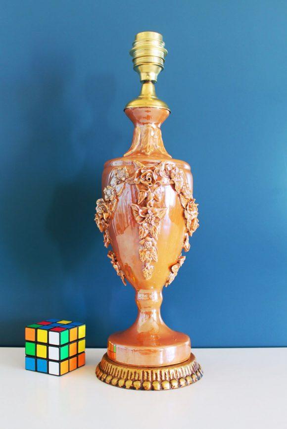 Lámpara de cerámica de Manises en color ámbar o caramelo. Vintage 50s-60s.