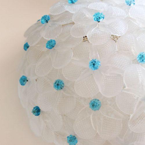 BAROVIER & TOSO - Exquisita pareja de lámparas de cristal de Murano, con flores blancas y azules, vintage.