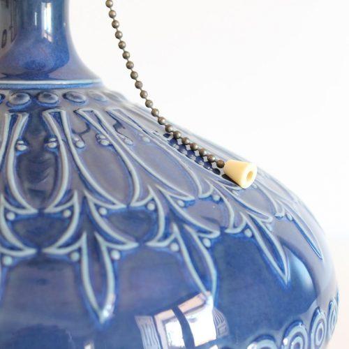 """Lámpara de porcelana Lladró """"Pletoria"""" azul, vintage años 70."""