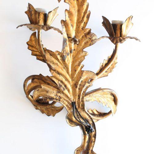 Aplique de forja dorada al pan de oro, vintage 50s-60s.