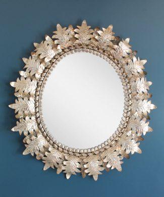 Gran espejo sol de hojalata repujada, vintage años 50s-60s.