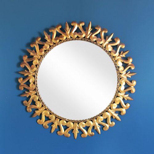 Espejo sol de forja dorada al pan de oro, vintage años 60.