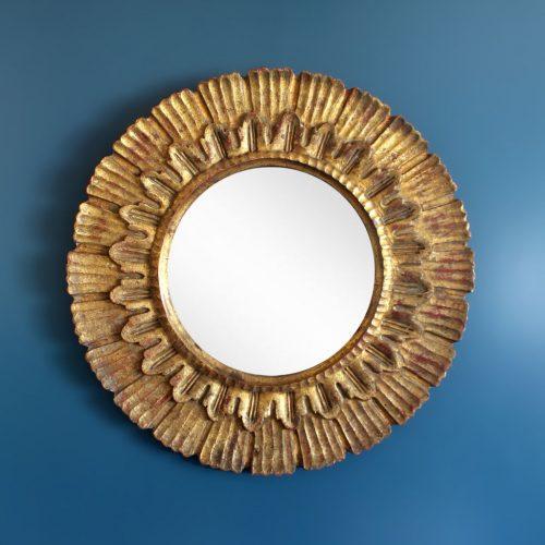 Espejo sol de madera, tallado a mano. Pan de oro. Vintage años 50-60.
