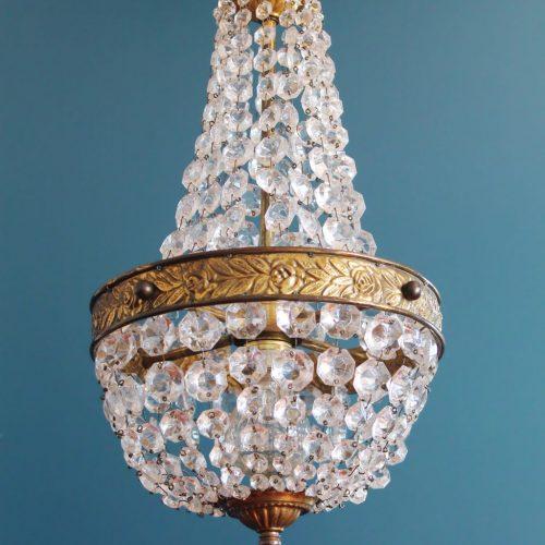 Lámpara saco o Montgolfiere de cristal y latón, en perfecto estado, vintage, 1ª mitad siglo XX.