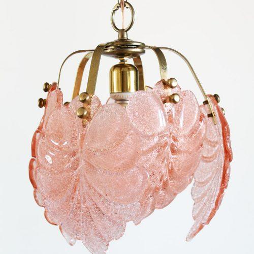 Murano - Lámpara de techo con hojas de cristal rosa, vintage años 70s.