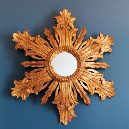Espectacular espejo sol de madera tallada y dorada al pan de oro, vintage años 60.