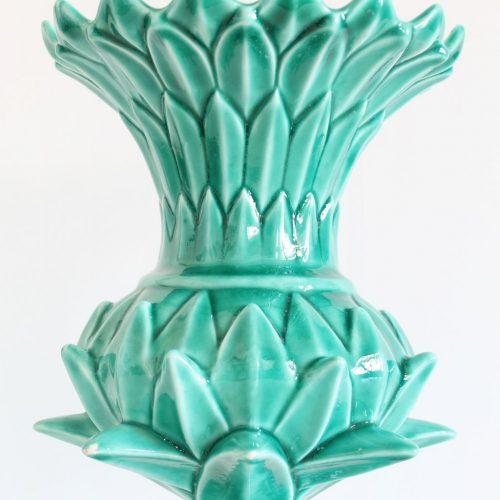 ALCACHOFA- Jarrón de cerámica de Manises en color azul turquesa. Vintage años 50-60.