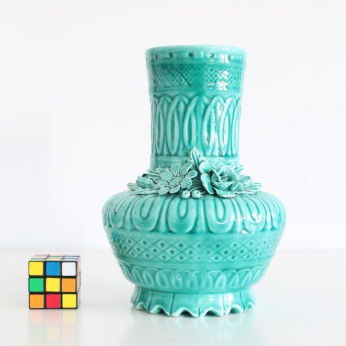 Jarrón de cerámica de Manises en color azul turquesa. Vintage años 50-60.