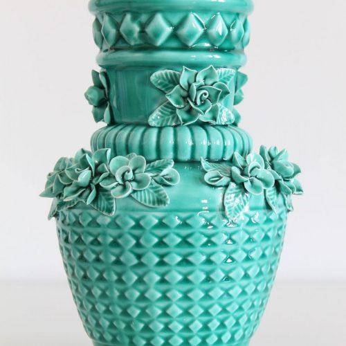 Jarrón de cerámica de Manises en color azul turquesa. Vintage años 50-60. 3 UNIDADES DISPONIBLES.