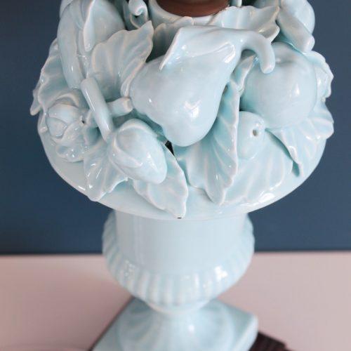Lámpara vintage de cerámica de Manises, C. Hispania. Copa de frutas. Vintage 50s-60s.
