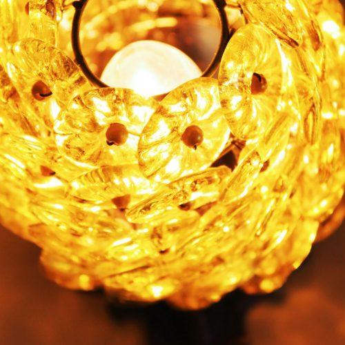 FLORES DE CRISTAL - Lámpara modernista de sobremesa de cristal y bronce - vintage.