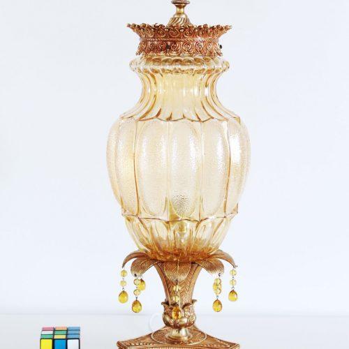 Lámpara de sobremesa de bronce y cristal, vintage años 50s-60s.