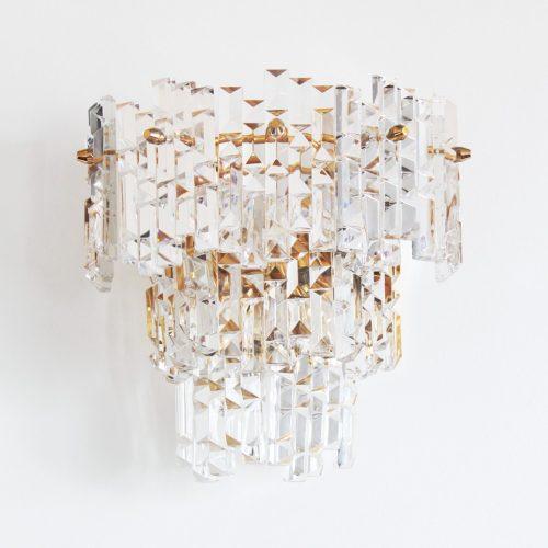 KINKELDEY LEUCHTEN (Alemania) - Pareja de apliques de cristal tallado. Vintage años 60s-70s.
