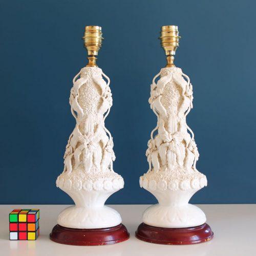 Excelente pareja de lámparas de cerámica de Manises (Valencia). Vintage años 50s-60s.