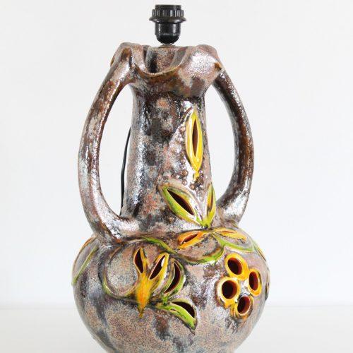 WALTER GERHARD - Lámpara de cerámica Fat Lava, retroiluminada, Sondgen Keramics, Alemania Occidental, vintage 60s.