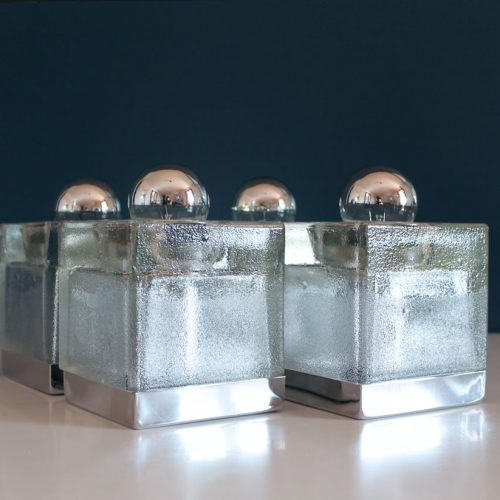 PEILL & PUTZLER - juego de 4 apliques de cristal y acero cromado, vintage 70s-80s.